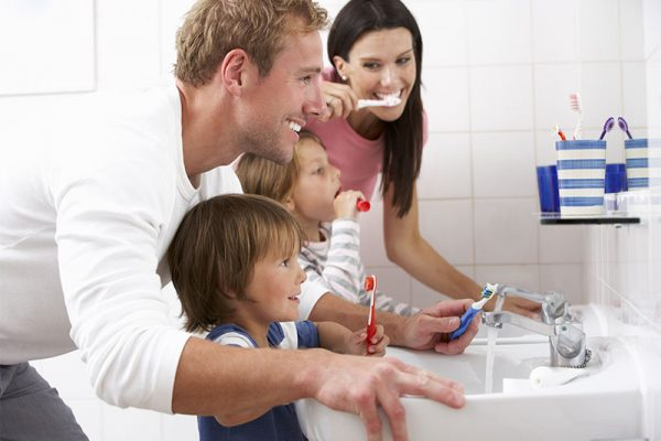 Family Brushing Teeth | Bosham Clinic Dental